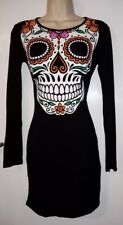 FANCY DRESS WOMENS TRENDY NEW CASUAL SEXY BLACK SKELETON DRESS: UK SIZE 12 (40)