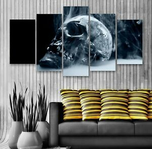 Smoking Skull 5 Panel Canvas, Wall Art, Picture, Framed Canvas Print #168