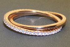 Rose Gold Over Solid Silver Simulated Diamond Russian Wedding Eternity Ring