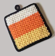 Halloween Candy Corn Colors Crochet Potholder, 100% Cotton Double Thick Oven Mit