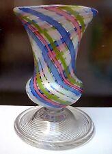 Italian 20th Century Venetian Murano Latticino Swirling Twist Glass Vase