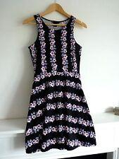 """Ladies Lovely H&M Black Mix Floral Above Knee Skater Dress Size S, Pit~Pit 15"""" V"""