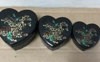 Black Heart nesting box set lot plastic Hong Kong 1980's gift shop vtg trinket