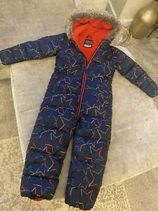 Boys Next Navy Star Snow/ Puddle Suit Faux Fur Trim Fleece Padded All In One 5-6