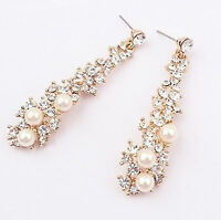 Women Crystal Gold Color Bling Bride wedding Party Long Earrings Ear Hook Drop