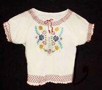 "Hungarian Folk Peasant Style Blouse Gauze Embroidered, Colorful 48"" around Chest"