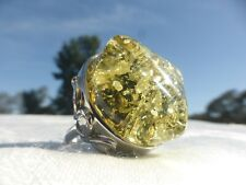 BEAUTIFUL Large Silver Tone Faux GREEN AMBER RING Size 6.5 GORGEOUS ON