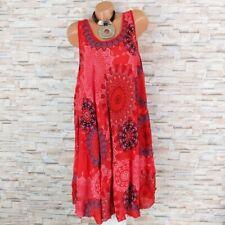 MADE IN ITALY Hängerchen Kleid Sommerkleid Ornamente Ethno rot 40 42 44