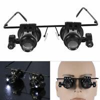 20x Magnifying Eye Magnifier Glasses Loupe Lens Jeweler Watch Repair LED Light B