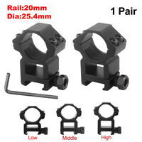 """2 PCS High Profile 1"""" Scope Ring See Through Laser Scope Mount for Picatinny"""
