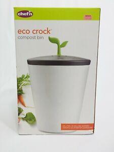 Chef'n Echo Crock Counter Compost Bin Black and White 3.3 Liter. BRANDNEW