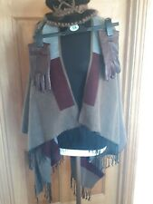 Ladies Winter Shawl, Hat , Faux Leather Gloves