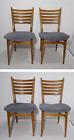 Vintage Set of 4 Mid Century Danish Modern Wood Dining Chairs