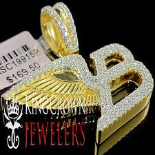 Mens 10k Yellow Gold Silver Bentley Flying B Symbol Simu Diamond Pendant 1.30''