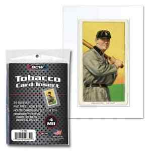 """1-7/16"""" X 2-5/8"""" Tobacco Card Sized Insert Sleeve BCW Brand Pack of 25 Inserts"""