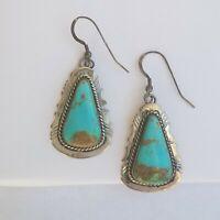 Vintage Navajo Handmade Kingman Turquoise Earrings Sterling Silver Elouise Kee