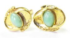 SCULPTURAL 14K Yellow Gold Jade Cufflinks Vintage MidCentury Modern Great Design