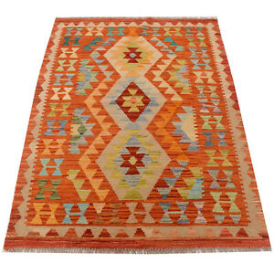 Hand-knotted Sharp Colors Afghan Amazing Area Kilim Rug <5662> (3'4 x 4'9)ft.