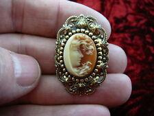 (CT4-10) MYSTIC HALF crescent MOON WOMAN Orange + ivory CAMEO Pin Pendant brooch
