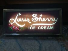 """Vintage Louis Sherry Ice Cream Light Sign Works Great """"Rear�"""