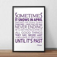 Prince Rogers Nelson Art Print Art Fan Gift Sometimes It Snows Song Lyrics Quote