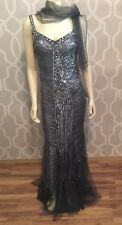 Michelle Couture Sequin Gown Train Spaghetti Strap Gray 6 NWT Dress Formal Long