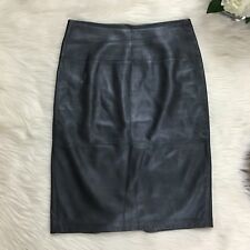 Sportmax Max Mara Leather Black Pencil Skirt Buttery Soft Iridescent Sz 4