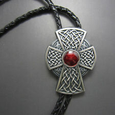 Men Western Bolo Tie Silver Plated Red Celtic Cross Cowboy Cowgirl Necklace