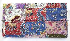 Patchwork kantha quilt indian mukut handmade bohemian bedspread king blanket