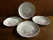4 assiettes à dessert en porcelaine de silesie,motif floral,oiseaux