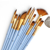 12 PCS Pennelli Set Studente Artista Disegno Acquerello Pittura PaintBrush H7L2