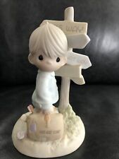 """Precious Moments- Boy @ Crossroads Of Life """"Jesus Is The Only Way�#520756 w/box"""