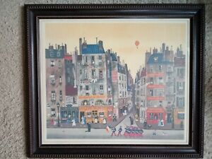 «PARADE» 1974 by Michel Delacroix Signed Matted Framed Lithograph Under Glass