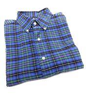POLO Ralph Lauren Blue Plaid BIG Shirt Mens Size M Button Down Long Sleeve
