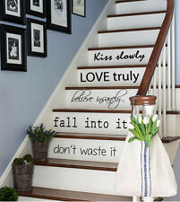 Wall Decals Vinyl Decal Sticker Quote Kiss Slowly Love Truly Stairs Decor kk835