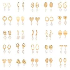 Korean Style Lady Gold Plated Dangle Drop Geometric Freshwater Pearl Earrings