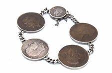 ANTIQUE Vtg BRITISH COIN COLLECTOR Bracelet Set in Sterling Silver MAN MENS Size