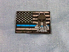 Thin Blue Line Molon Labe Flag Sticker - Come and Get Them! -  SHIPS FREE!