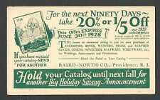 DATED 1928 PC PROVIDENCE RI BAIRD NORTH CO DISCOUNT ON DIAMONDS WATCHES ETC