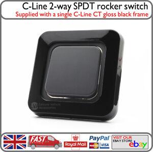 C-Line Gloss Black 240v 12v Lights Power Switch 2-Way SPDT Campervan Boat Van VW
