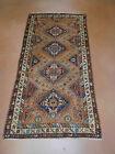 Antique Persian rug lovely estate 3.5 x 6.10 carpet Kurd ca. 1910s Camel Hair