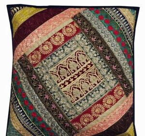 """33% OFF 24"""" BLUE EMBROIDERED PATCHWORK THROW FLOOR ACCENT CUSHION PILLOW  COVER"""