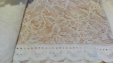 "PAIR OF ANTIQUE COTTON LACE CURTAINS+50"" WIDE X 21"" DROP+MADE IN SCOTLAND+UNIQUE"