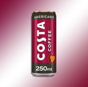 12x Costa Coffee Americano Straight Forward Double Espresso Shot 250ml Cans