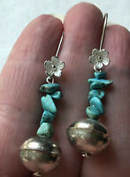 #697 Turquoise Large 12mm Navajo Vintage Bench Beads, Sterling Flower, Earrings