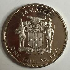 Exquisite Frosty Cameo Gem 1971 JAMAICA PROOF ONE DOLLAR