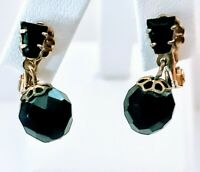 Vintage Formal Casual Black Jade Drop Dangle Clip Post Pierced Earrings