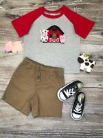 Boys, Toddler Barnyard Friends Raglan Red T-Shirt Cow Horse Pig 2T 3T 4T 5 6 7 8