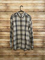 The North Face Mens Long Sleeve Gray Blue Yellow Plaid Button Up Shirt Size XL