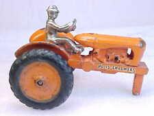 Vintage Arcade Cast Iron Orange Allis-Chalmers Tractor W/ Rider  1930s  Original